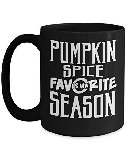 ハロウィンマグカップ、Pumpkin Spiceは私のお気に入りSeason 11 oz – 15オンスセラミックコーヒーマグカップ、お茶カップ – 面白いギフトの娘、息子、妻、夫、母、父、おじいちゃんonハロウィン日、10月31日 15oz ブラック GB-1401201-43-Black