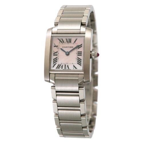 腕時計 タンクフランセーズ ピンクシェル W51028Q3 レディース カルティエ