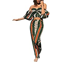 Glamaker Women's Off Shoudler Strapless Backless Stripe Wide Leg 2 Pieces Outfit Jumpsuit