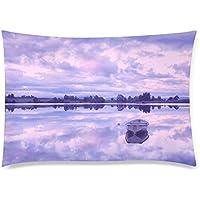 可愛い 子供 早朝のボートの浮かぶ湖の風景 座布団 50cm×72cm
