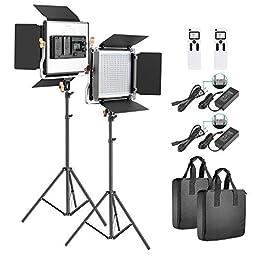 Neewer 2セットアドバンスド2.4G 480 LEDビデオライト撮影照明キット 調光可能な二色LEDパネル 液晶画面と2.4Gワイヤレスリモコンとライトスタンド付き ポートレート、商品撮影、スタジオビデオ撮影用