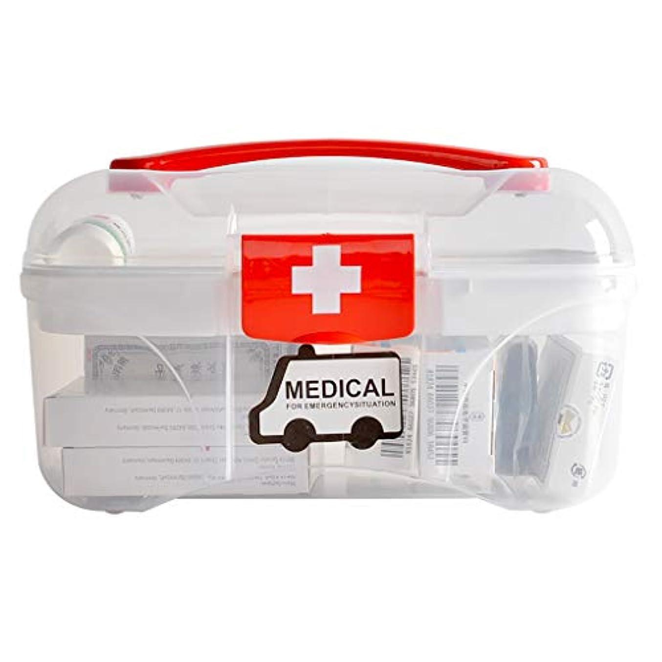 国旗債務者創造家族医学オーガナイザー多層応急処置キット医学収納ボックス、赤ちゃんの医学ボックス、家庭用子供ミニポータブル携帯、家族のために適した、車、旅行