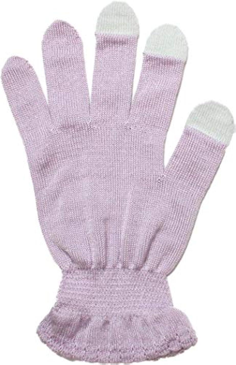 額ごめんなさいそこ【婦人シルクハンドケアタッチ対応】おやすみ手袋 うちエコ ハンドケア 保湿 スマホ対応 レディース 日本製 フリーサイズ 手洗いOK シルク繊維使用 本体シルク100% 6677