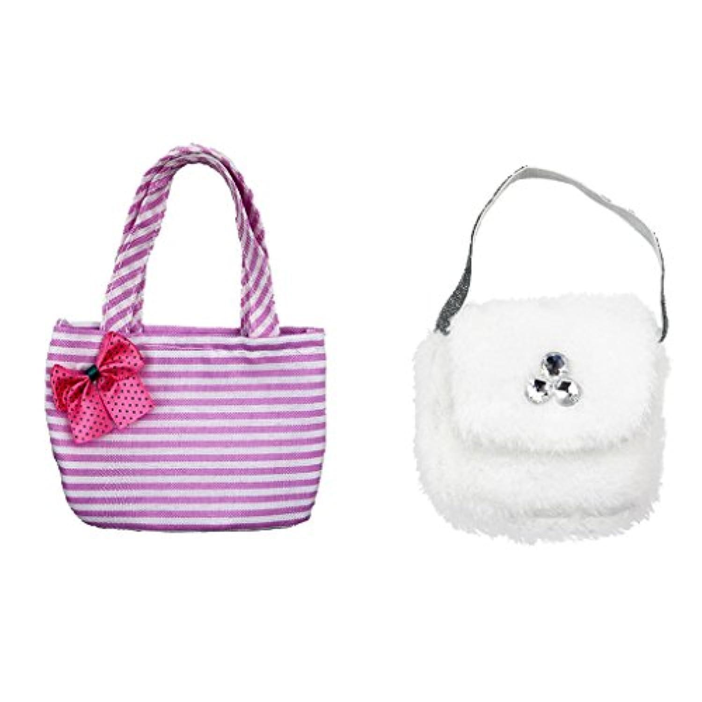 SONONIA  ピンク ストライプ ちょう結び  ハンドバッグ  + ホワイト  ぬいぐるみ  バッグ  18インチアメリカンガールドール用