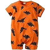 YAYARUNKA ベビー服 ロンパース 男の子 カバーオール 半袖 夏服 恐竜柄 オレンジ パジャマ 肌着 出産祝い 誕生日プレンゼント 可愛い