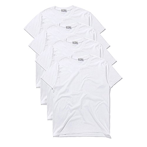 [Macoking] メンズ 無地 吸汗速乾 Tシャツ インナーシャツ 純色 半袖 クルーネック 丸首 カジュアル オシャレ シンプル ファッション 綿100% 歳暮 プレゼント ホワイト 四枚のセット L