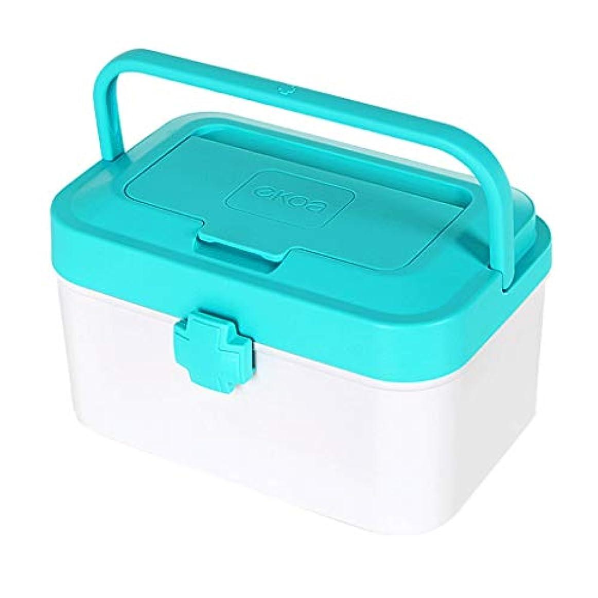 彫る電話をかける主導権ピルボックスPP 24 * 14.5 * 15 cm家庭用薬ボックス薬収納ボックス (色 : 青)