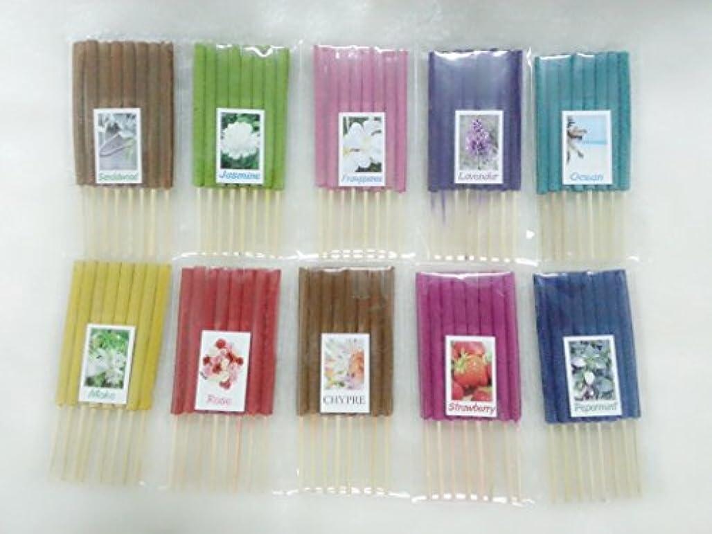 粘り強いにぎやか有彩色の設定6 Mixアロマ10 Scents 80 Sticks Mini Incense Sticks Thai Spaアロマセラピーホームのハーブ&香料、長さ3インチ