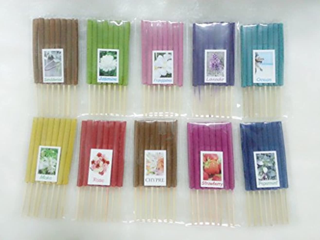物理的なつかまえるいっぱい設定6 Mixアロマ10 Scents 80 Sticks Mini Incense Sticks Thai Spaアロマセラピーホームのハーブ&香料、長さ3インチ