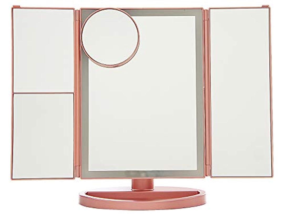 四半期検出するロデオCRAIFE 卓上式三面化粧鏡 折りたたみ式三面鏡 明るさ調整LED 2倍/3倍/10倍拡大鏡付き (ローズゴールド)