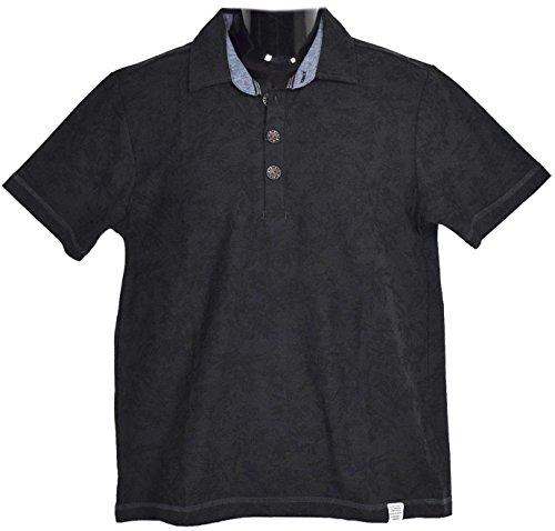 aeaa9c9bbe77a Clack (クラック) 大きいサイズ ポロシャツ ボタニカル柄 総柄 裏タンガリー 半袖 トップス リゾートテイスト 春 夏 秋 メンズ 20 (黒)