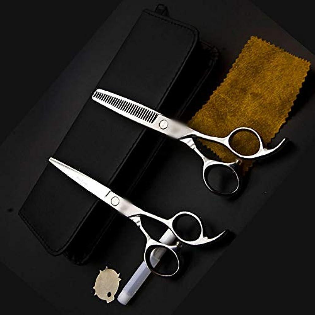 周りコンデンサー脊椎6インチ美容院プロフェッショナル理髪はさみセット ヘアケア (色 : Silver)