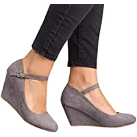 Syktkmx Womens Wedge Heels Pumps Mary Jane Shoes Ankle Strap Closed Toe Dress Office Work Walking Sandals