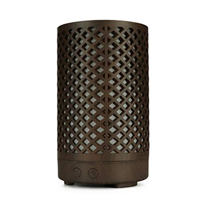 毎日迷路橋脚木目加湿器家庭用100ミリリットルミニデスクトップカラフルなアロマテラピーマシン (Color : Dark wood grain)