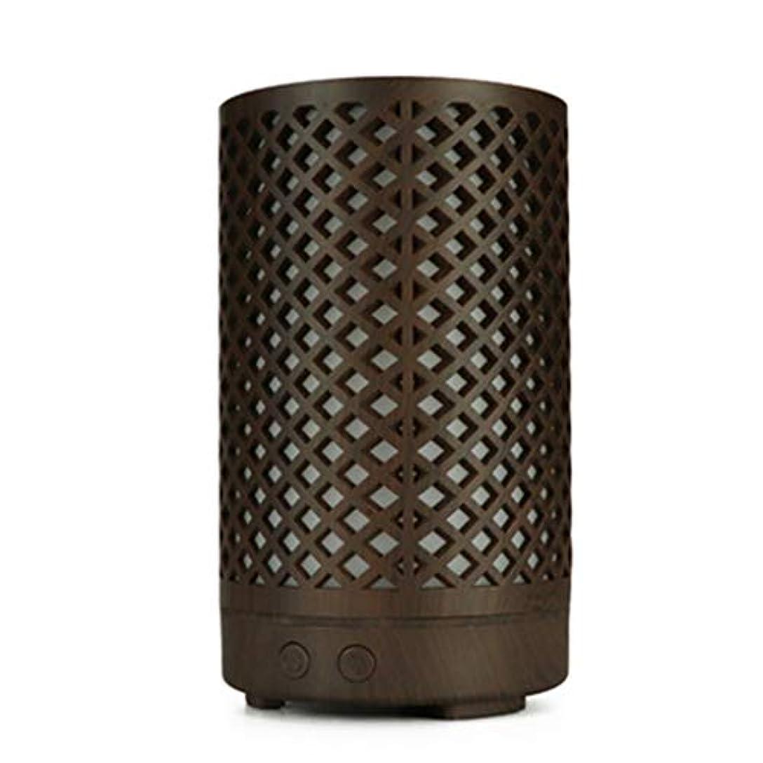 とらえどころのない忠誠共役木目加湿器家庭用100ミリリットルミニデスクトップカラフルなアロマテラピーマシン (Color : Dark wood grain)
