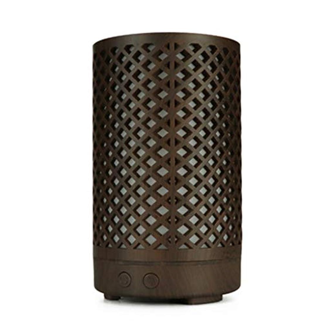 効率戸口まっすぐにする木目加湿器家庭用100ミリリットルミニデスクトップカラフルなアロマテラピーマシン (Color : Dark wood grain)