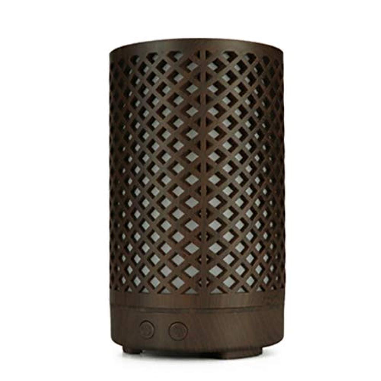 噴出するパネル海軍木目加湿器家庭用100ミリリットルミニデスクトップカラフルなアロマテラピーマシン (Color : Dark wood grain)