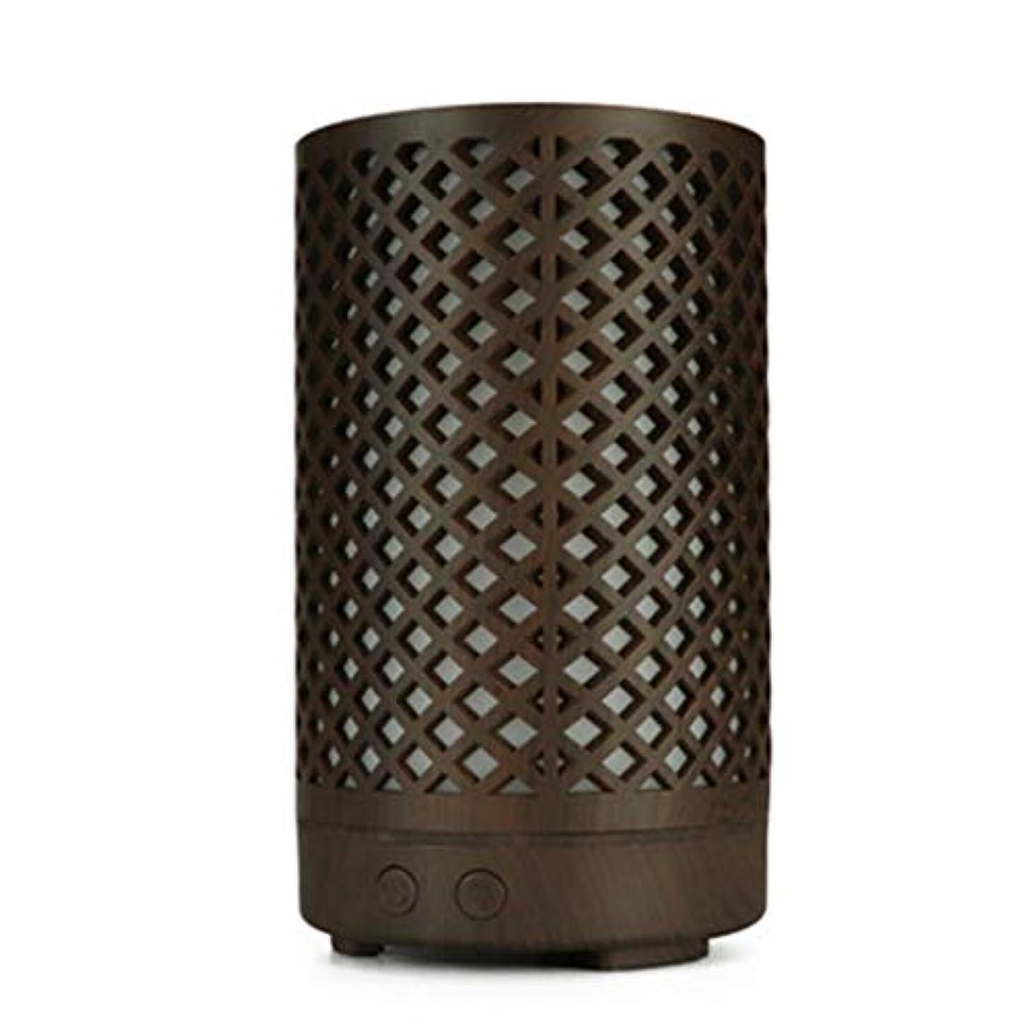 奴隷外観不均一木目加湿器家庭用100ミリリットルミニデスクトップカラフルなアロマテラピーマシン (Color : Dark wood grain)