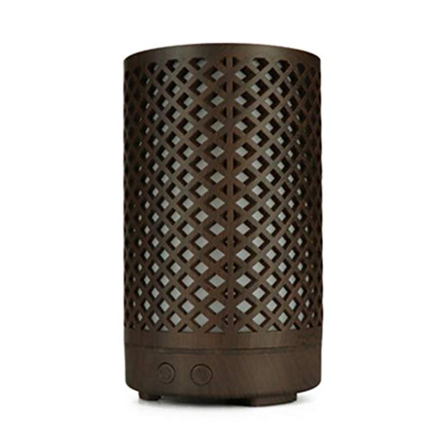 組み立てる蒸し器原点木目加湿器家庭用100ミリリットルミニデスクトップカラフルなアロマテラピーマシン (Color : Dark wood grain)