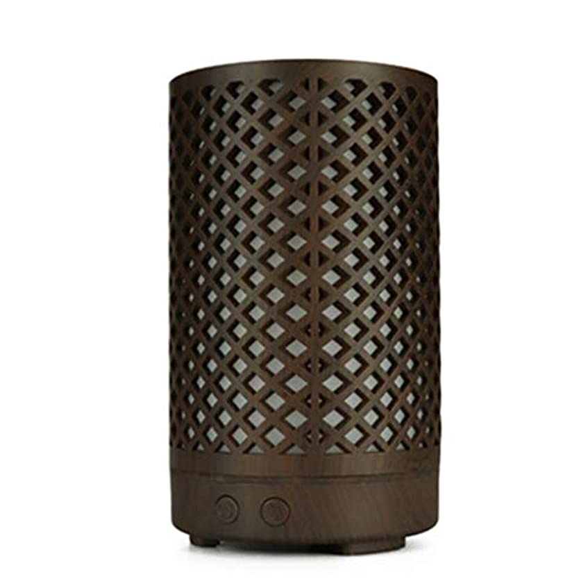 フィラデルフィア懸念適性木目加湿器家庭用100ミリリットルミニデスクトップカラフルなアロマテラピーマシン (Color : Dark wood grain)