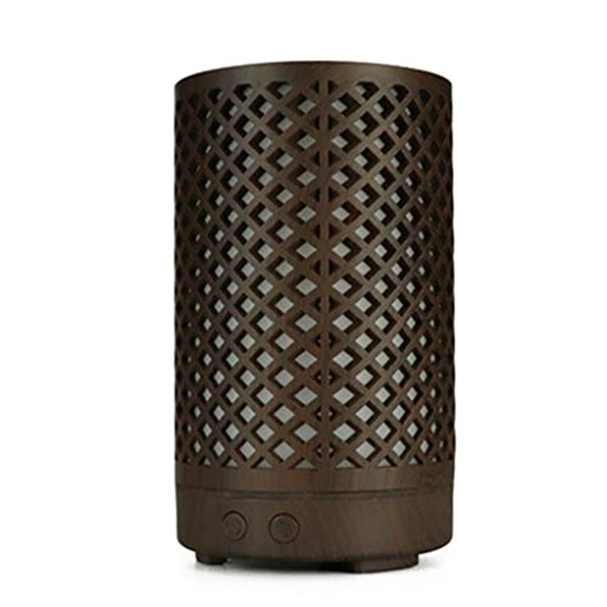 満足イノセンス連合木目加湿器家庭用100ミリリットルミニデスクトップカラフルなアロマテラピーマシン (Color : Dark wood grain)