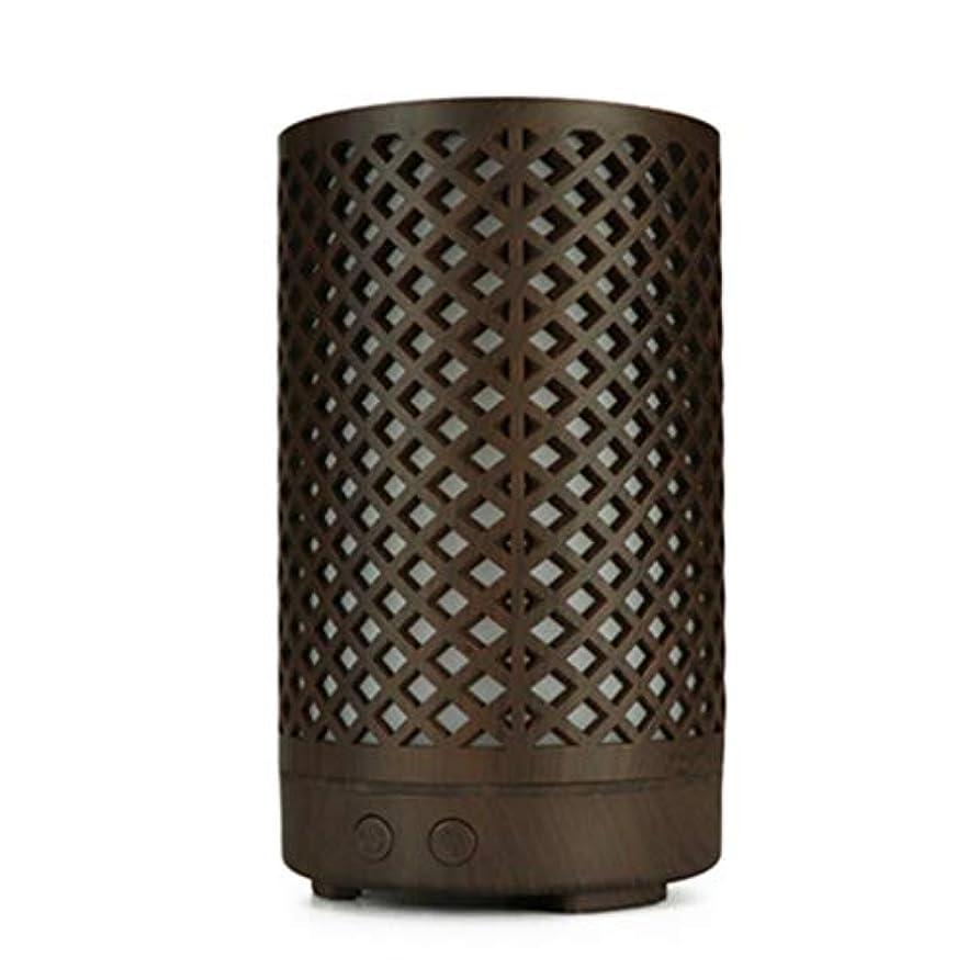 先にトレッド債務者木目加湿器家庭用100ミリリットルミニデスクトップカラフルなアロマテラピーマシン (Color : Dark wood grain)