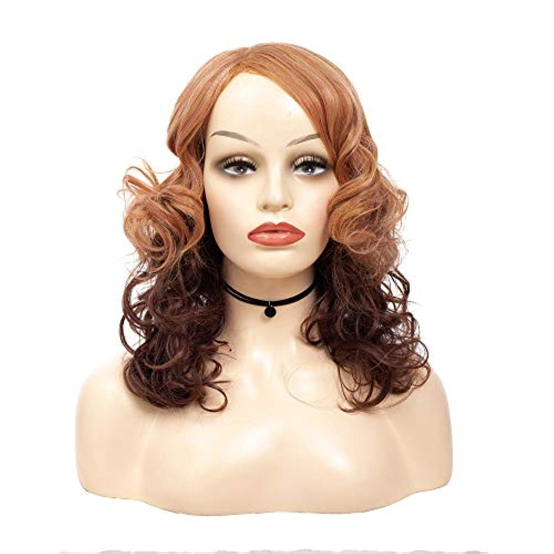毎回想像力豊かな令状WASAIO ブラウンツートングラデーションカラーショートカーリーミドルパートナチュラルふわふわウィッグアクセサリー用スタイル交換用女性 (色 : ブラウン, サイズ : 50cm)