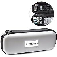 プルームテック ケース NeQuare PU レザー Ploom TECH PloomTECH ケース カバー スリム コンパクト シンプル 無地 合皮 セミハード 電子タバコ VAPE ベイプ 保護 収納 ポーチ ホルダー キャリングケース (ブラック) (グレー)