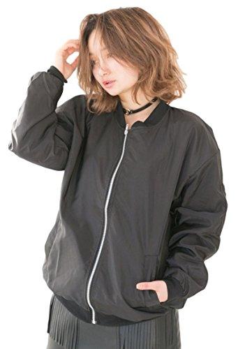 (sleeping sheep) MA-1 ミリタリーブルゾン ナイロン ジャケット ジャンパー アウター フライトジャケット 薄手 ブラック ホワイト 春 レディース (XL, ブラック)