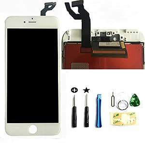 iPhone 6s plus(白い) 5.5インチ3Dタッチスクリーン修理交換用フロントパネルセット 修理交換用高品質LCD 液晶LCD  割れフロントガラスデジタイザ 修理工具(パーツ)付き ホームボタン付きません。