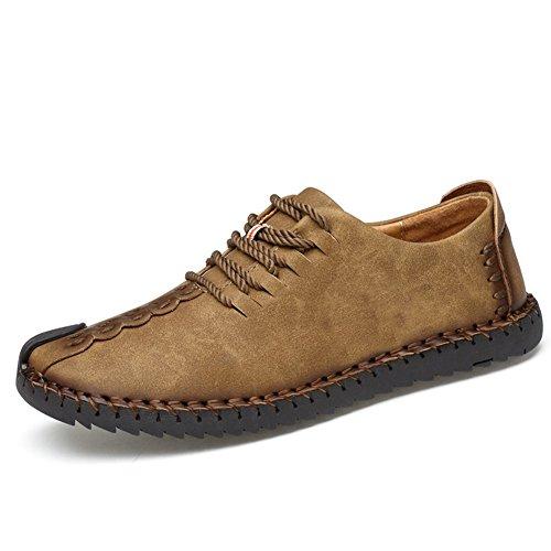 メンズ デッキシューズ 革靴 メンズ 手作り ローカット 本革 ワークブーツ オックスフォードの靴 カジュアルシューズ ファッションスニーカー レースアップシューズ 通勤用 防滑24.0cm~28.0cm カーキ JP275