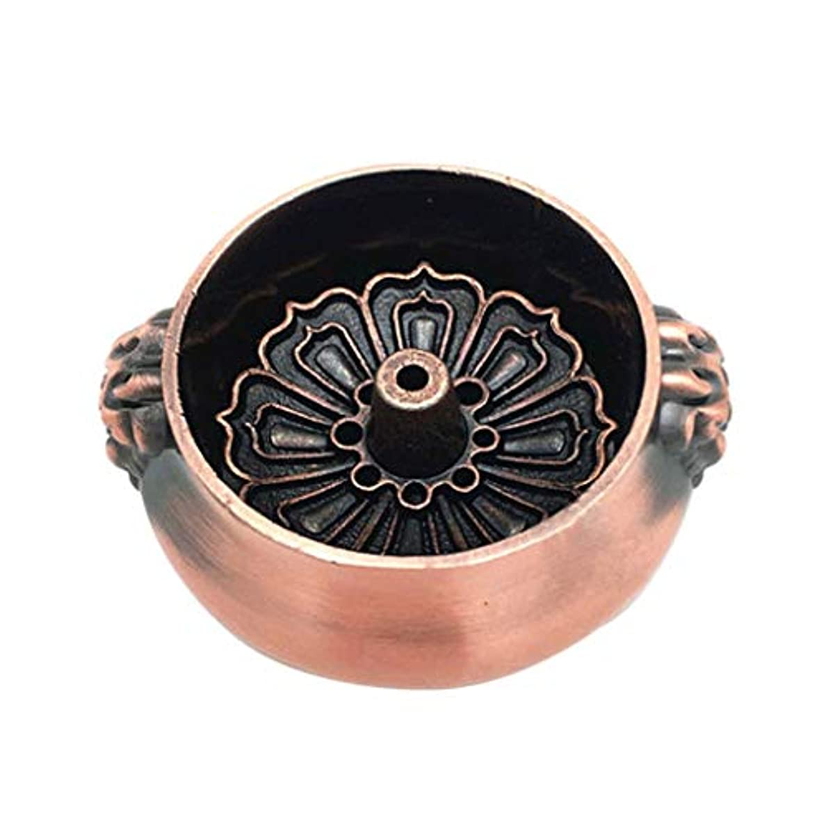 識別十分です手伝う合金香バーナー花香バーナースティックホルダーロータス形状銅香ベースプラグホームデコレーション香ホルダー (Color : Brass, サイズ : 2.36*1.06inchs)