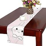 GGSXD テーブルランナー 小柄 ピンクうさぎ クロス 食卓カバー 麻綿製 欧米 おしゃれ 16 Inch X 72 Inch (40cm X 182cm) キッチン ダイニング ホーム デコレーション モダン リビング 洗える