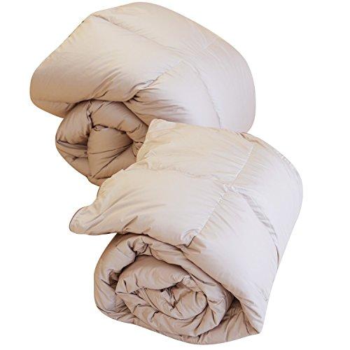SNOWMAN 羽毛布団 2枚合わせ シングル 肌掛け(夏)+合掛け(春・秋)=2枚合わせ羽毛布団(冬) オールシーズン 1年中快適に使える羽毛布団2枚合わせ ダウンケット 合い掛け布団 収納袋付き (カーキ)