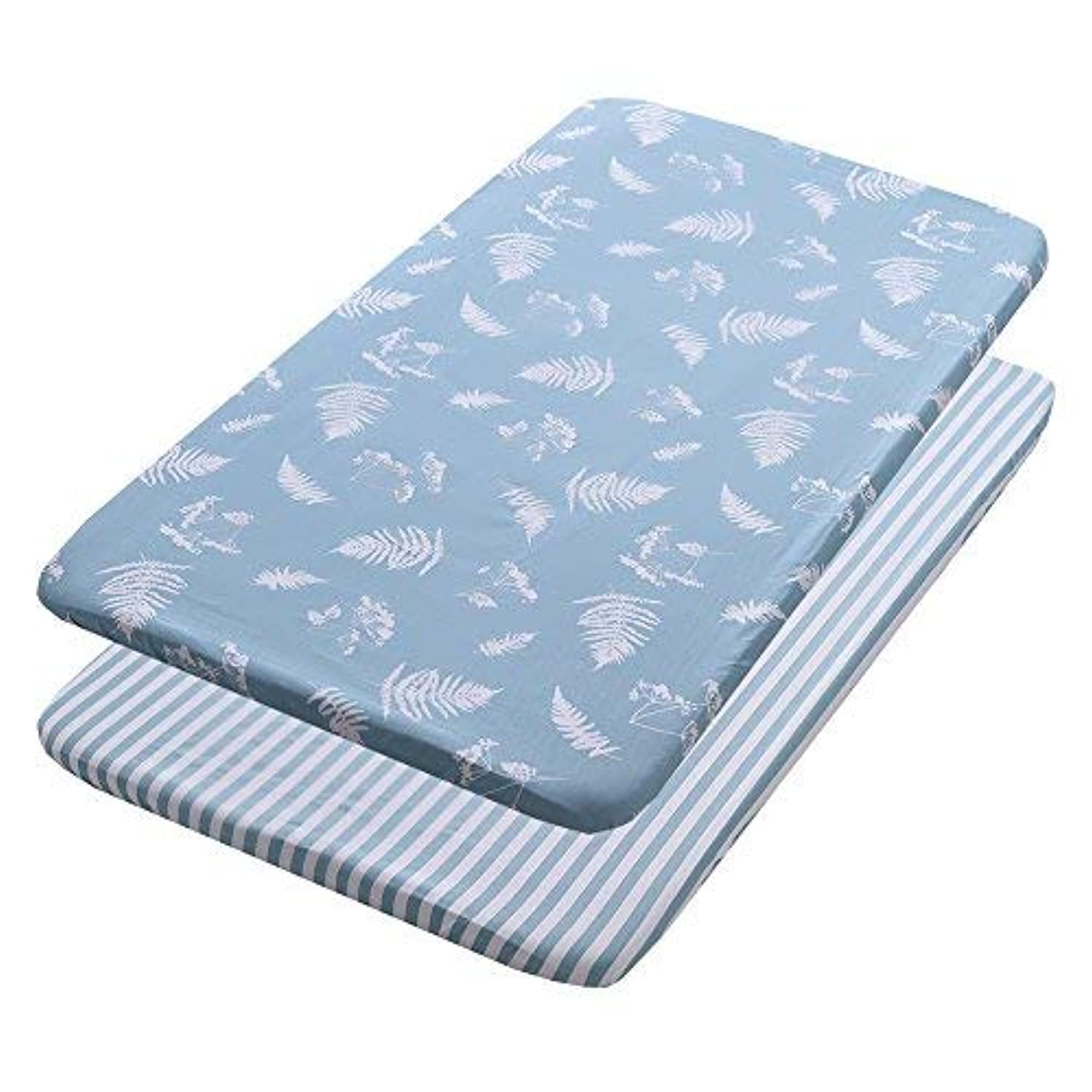 Gina Era Play Portable Crib Sheet Set 100% Jersey Cotton Unisex for Baby Girl and Boy2 Pack(style14) [並行輸入品]