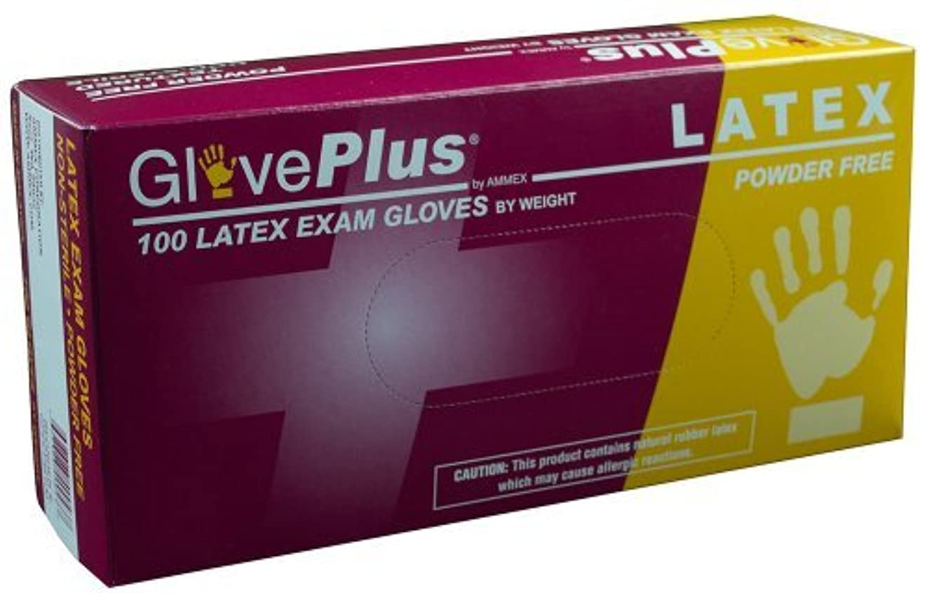 約束する容疑者悪いAMMEX - GPPFT48100-BX - Latex Gloves - GlovePlus - Disposable Powder Free Exam 4 mil Extra Large White (Box of...