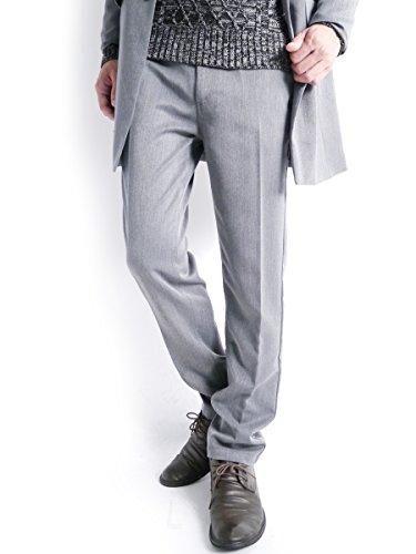 (モノマート) MONO-MART スーツ地 トラウザーズ スラックス テーパード 厚手 パンツ ストレッチ ゆる TR MODE メンズ チャコール【ストレート】 Mサイズ