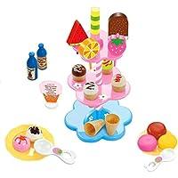 Kesoto 約22個入り 多色 アイスクリーム デザート スタンド 飲み物付き 子供 ロールプレイ ままごと おもちゃ 贈り物 セット