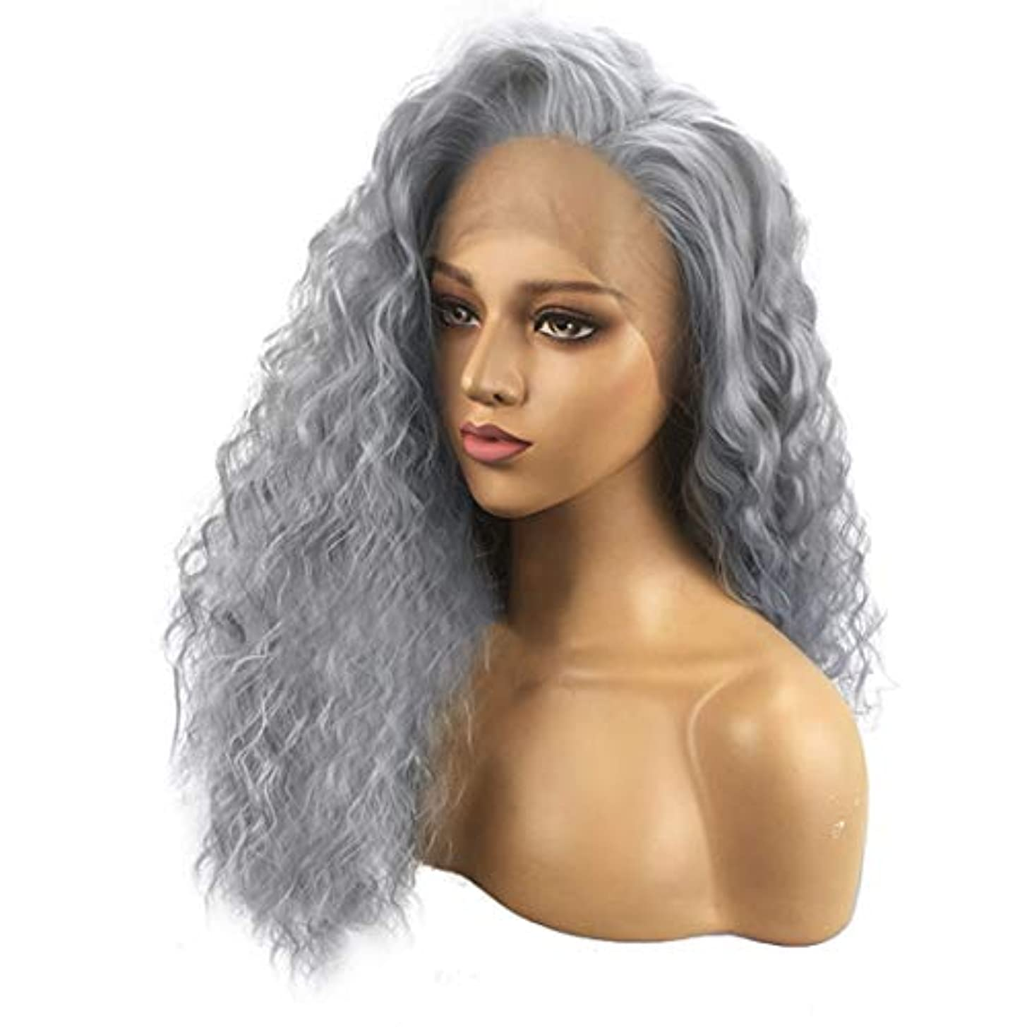 超高層ビル食事を調理する無駄Fuku つけ毛 かつら女性のフロントのレースの長い巻き毛の化学繊維のレースのヘッドギア (色 : 写真の通り)