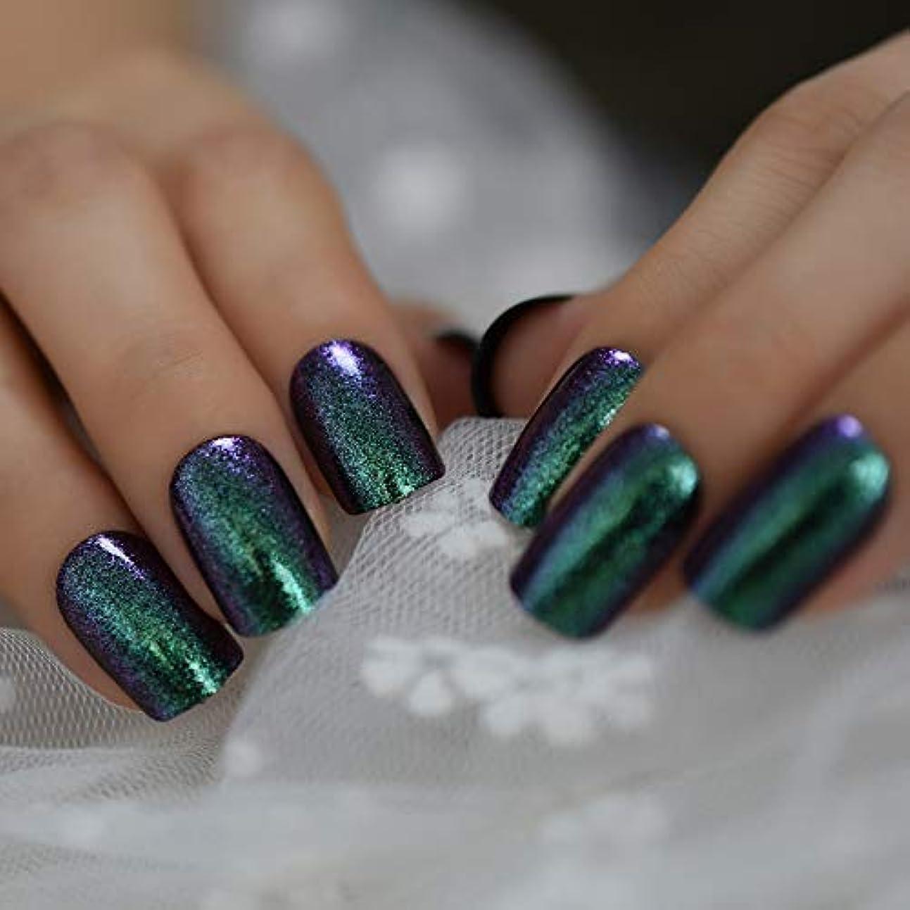 一般的に言えば休憩するベーカリーXUTXZKA レインボーグリッターフェイクネイルミディアムサイズグリーンレディースファッションのヒント人工爪