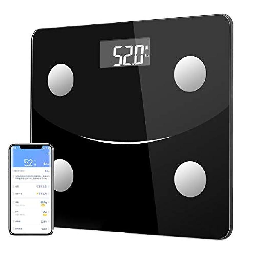 作動する再編成する暫定の体重計 体組成計 体脂肪計 Bluetooth スマホ対応  体脂肪率やBMI/体重/基礎代謝など測定できる ダイエットや健康管理に役立つ 収納便利 180 kgまで 日本語説明書付き (ブラック)
