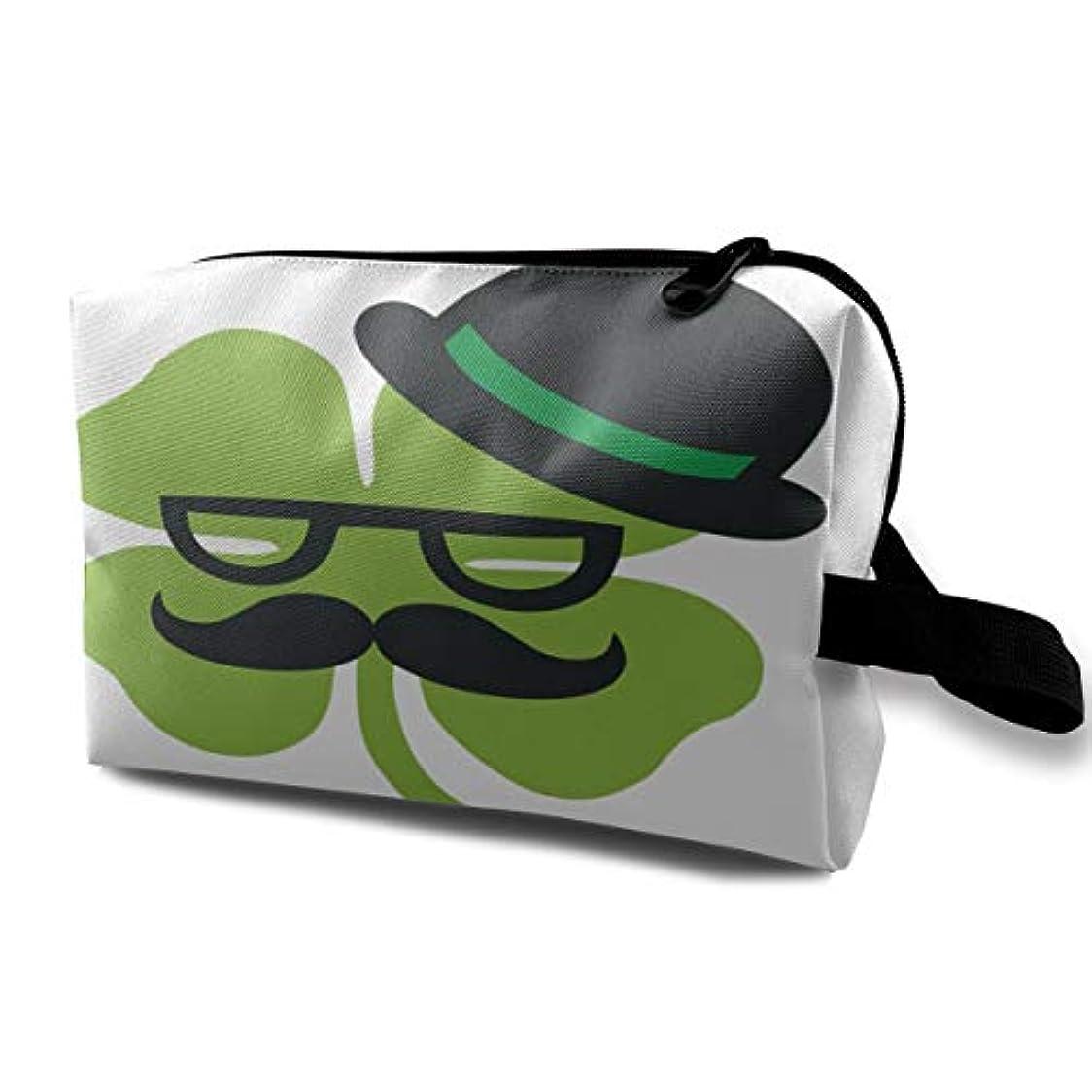 小石防水きらきらClover With Glasses Wear Hat 収納ポーチ 化粧ポーチ 大容量 軽量 耐久性 ハンドル付持ち運び便利。入れ 自宅・出張・旅行・アウトドア撮影などに対応。メンズ レディース トラベルグッズ