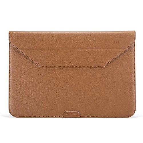 PLEMO iPad Pro ブリーフケース 12-12.9インチ レザーケース スタンド機能 タブレット用保護ケース surface pro 4 surface pro 3 13macbook air(ブラウン)