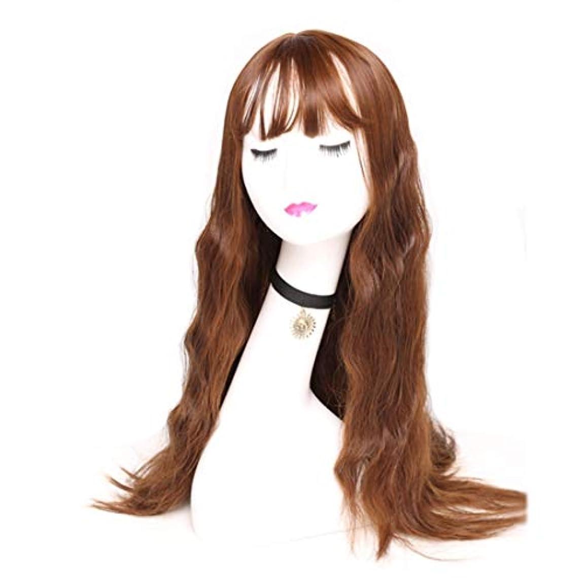 洗練姿を消すブラウズKerwinner 女性のための長い波状の合成かつら茶色のかつらかつら