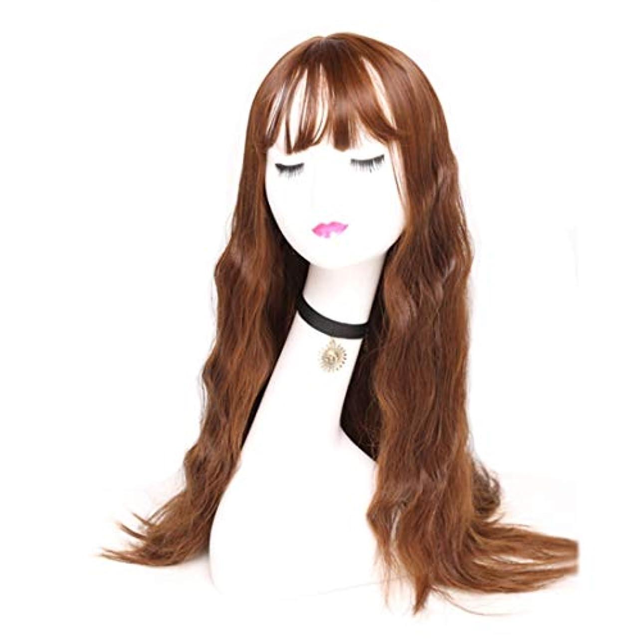 仮称隣接作動するKerwinner 女性のための長い波状の合成かつら茶色のかつらかつら