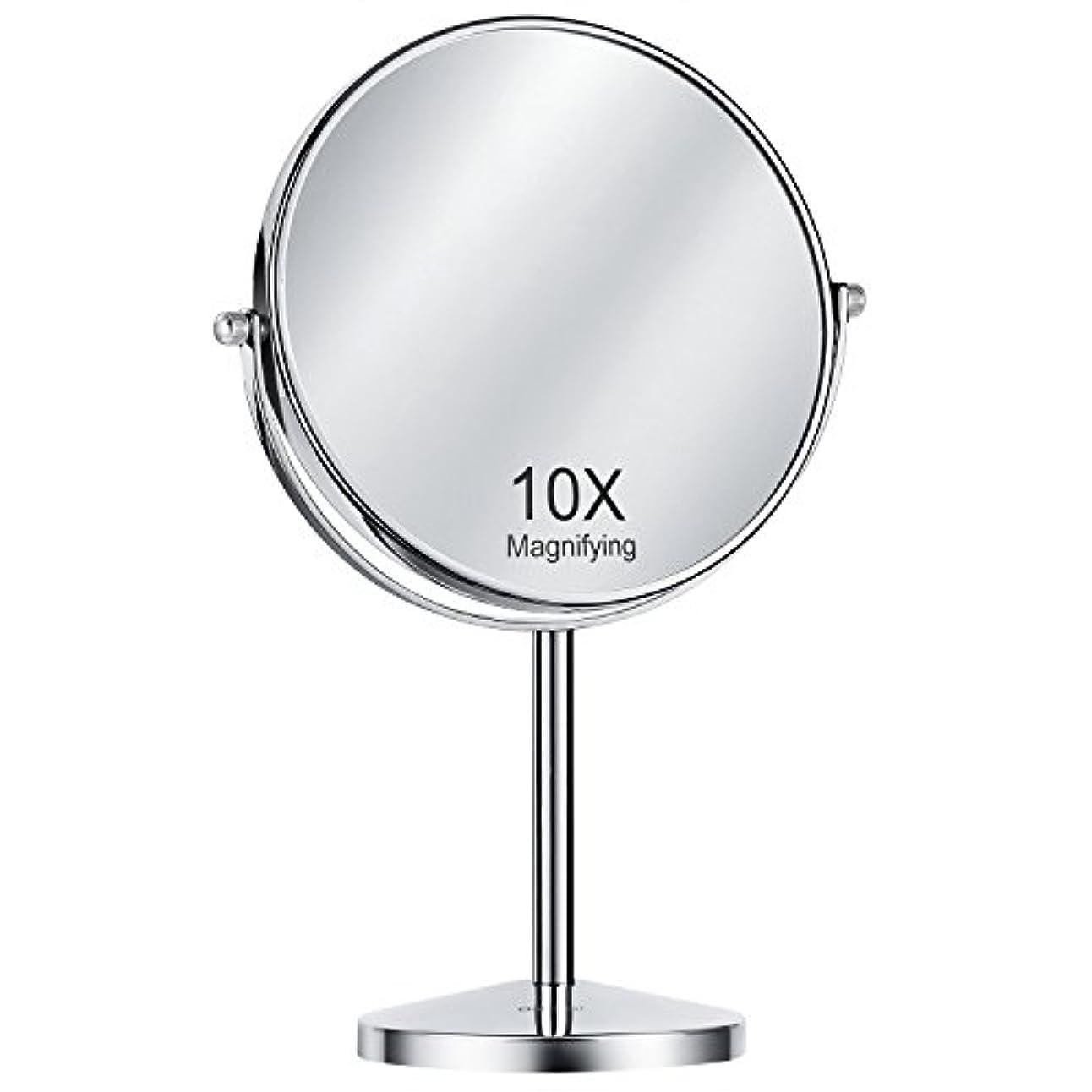 聖歌欠点シンクOak Leaf 拡大化粧鏡両面 1x / 10倍 倍率卓上スイベルバニティミラー8インチ 10倍(8インチ)