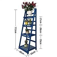 フラワーフレーム無垢材多層台形ラック床屋内木製フラワーラック寝室バルコニーリビングルーム肉質フラワーポットラック - マルチカラーオプション フラワースタンド (Color : Blue)