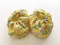ベベクチュール(ベビー用品専門店)日本製さっと被せるだけ簡単シューズカバー黄色花柄~17cm