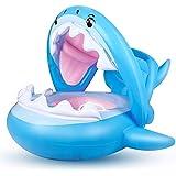ベビー用浮き輪 スイミングプール 幼児用浮き輪 空気注入式キャノピー付き シャーク柄 幼児用プールフロート 6?36ヶ月用