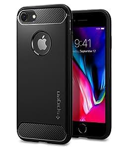 【Spigen】 Apple iPhone8 ケース / iPhone7 ケース, TPU ケース 米軍MIL規格取得 Qi 充電 対応 落下 衝撃 吸収 ラギッド・アーマー アップル アイフォン 8 / 7 用 耐衝撃カバー (iPhone8 / iPhone7, ブラック)